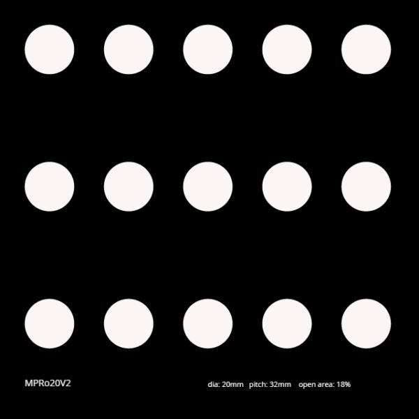 MPRo20V4 Diameter: 20mm Pitch: 32mm Open area: 18%